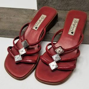 Brighton Womans Leather Red Sandals Silver Trim